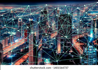 City connected to 5G technology