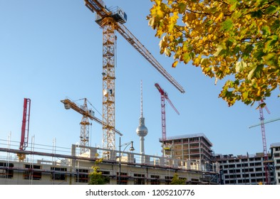 city construction site skyline with atumn trees in berlin germany