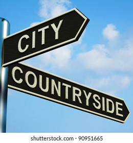 City Or Countryside Directions On A Metal Signpost