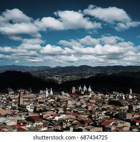 City of Cuenca Ecuador in South America from overlook on a beautiful day
