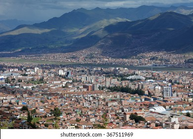 City of Cuzco in Peru, South America.Horizontal view with airport in valley.