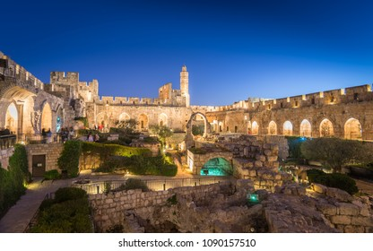 The City of David Museum Archeological gardens in the evening shortly before their spectacular light show.