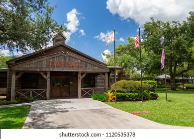 City of Davie Town Hall, historic, old west style wooden building - Davie, Florida, USA