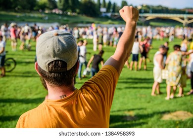 City day. Music festival. Entertainment concept. Visit summer festival. Guy celebrate holiday or festival. Summer fest. Man bearded hipster in front of crowd. Book ticket now. Open air concert.