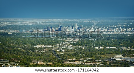 City of Denver Panoramic View on East. Denver, Wheat Ridge, Arvada, Applewood and Lakewood Colorado. American Cities Photo Collection.