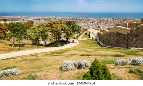 The city of Derbent is located on the shores of the Caspian Sea. View of the city from the observation deck in the Naryn-Kala fortress