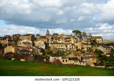 Belvès city is designated as one of the prettiest town in France. Panorama of delighful medieval french commune.