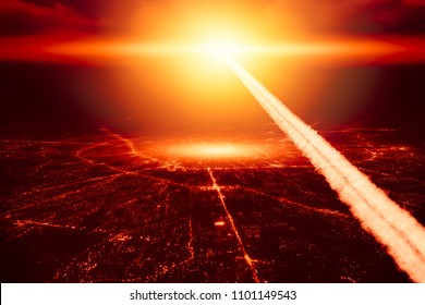 City destroyed by nuke nuclear bomb High altitude nuclear explosion missile explosive over the sky world war illustration concept.