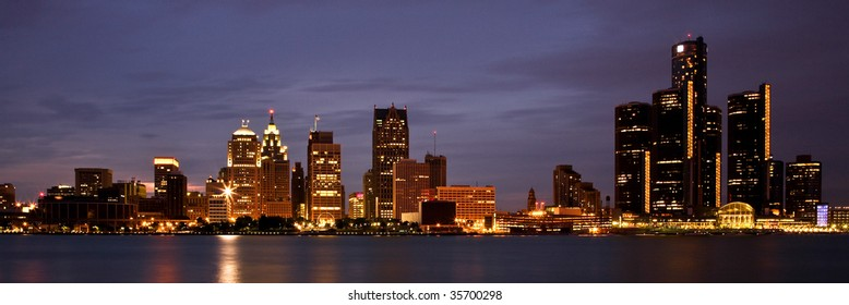 City Of Detroit Skyline on the Detroit River Detroit, Michigan