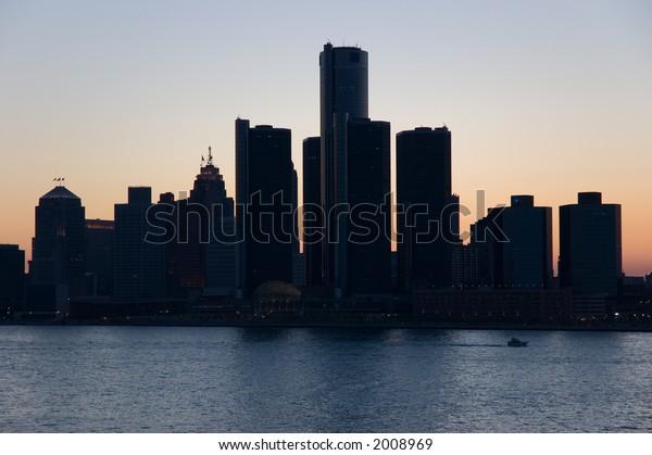 City of Detroit skyline, taken from Windsor Ontario at dusk.