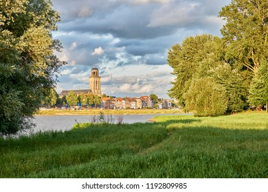 City of Deventer along the IJssel river in the late evening sun