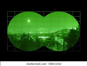 City during nigh - view through night vision