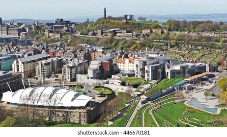 The City of Edinburgh from a high vantage point on a bright clear day