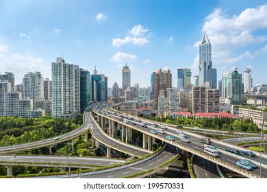 city elevated road junction with clear sky in shanghai