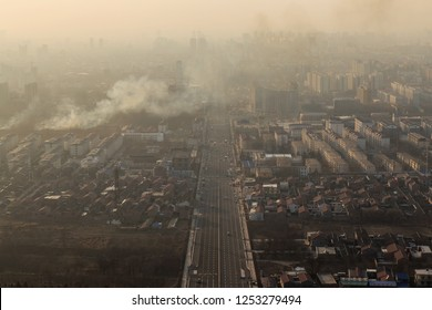 The city was enveloped in heavy smog