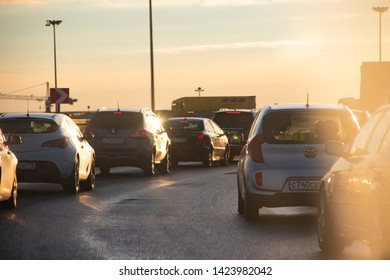 City evening traffic jams. Difficult movement. Automotive asphalt road. Russia, St. Petersburg May 31, 2019