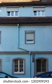 city facades of buildings in south germany at blue sky fall evening