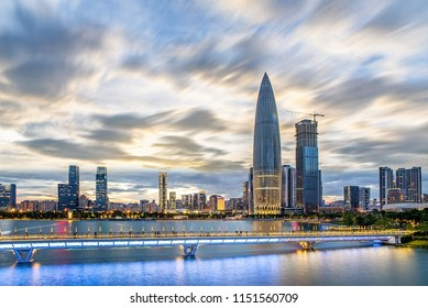 City fast paced concept map Shenzhen day and night city scenery composite map
