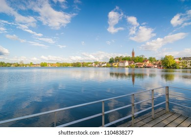 The city of Feldberg in Mecklenburg Vorpommern with its lake Haussee on a sunny day in spring
