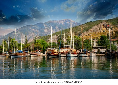 City of Fethiye and Harbours Luxury sailing boats