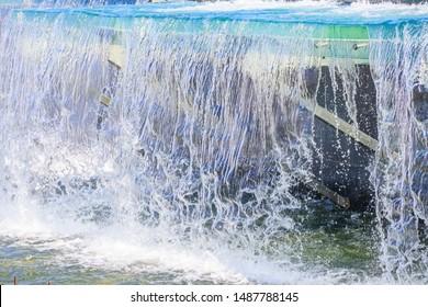 City fountains. City Fountains of St. Petersburg. Stream of water. Russia, St. Petersburg, Moskovskaya metro station August 20, 2019