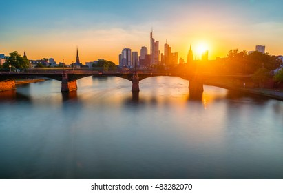 city of frankfurt at sunset