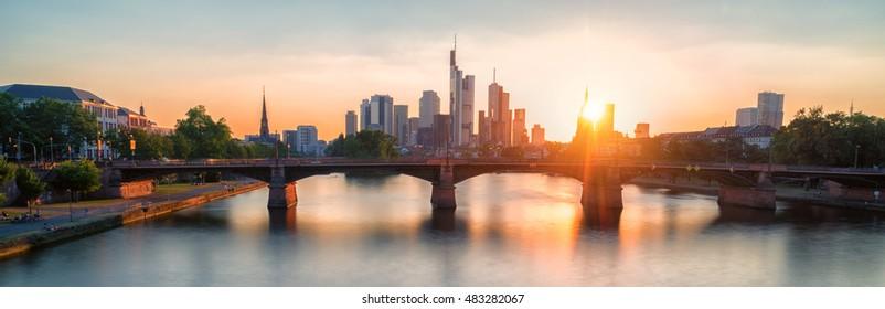 city of frankfurt at sunset panorama