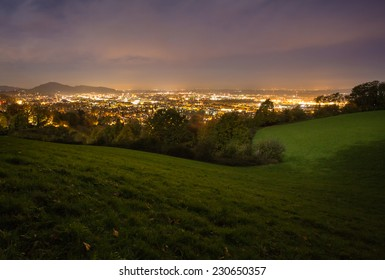 city of Freiburg at night
