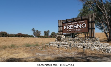 City of Fresno Sign Fresno , California, UNITED STATES - July 1, 2018. Entrance sign to the city of Fresno, California. Taken in the morning.