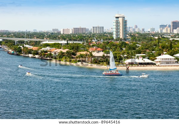City of Ft. Lauderdale along intercoastal waterway and Port Everglades.