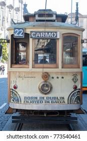 the city funicular city train in the city centre of Porto in Porugal in Europe. Portugal, Porto, October, 2015.
