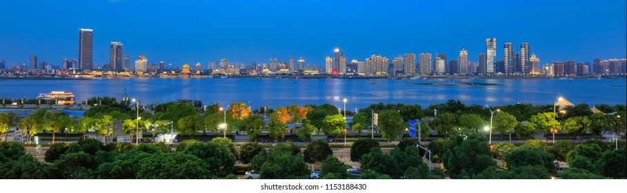 Panorama::evening, the city of Ganjiang River in Nanchang, China.City, Cityscape, Bridge - Built Structure, Building Exterior, Famous Place