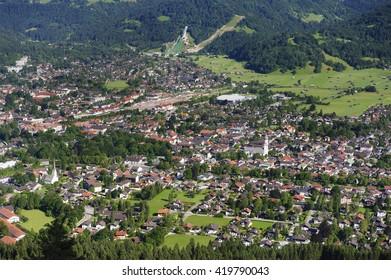 city Garmisch-Partenkirchen in Bavaria with alps mountains
