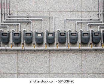 City Gas Meter on the Building Wall