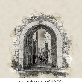City gate in Taormina, Sicily, Italy, Europe. Modern Painting. Brushed artwork based on photo. Background texture.