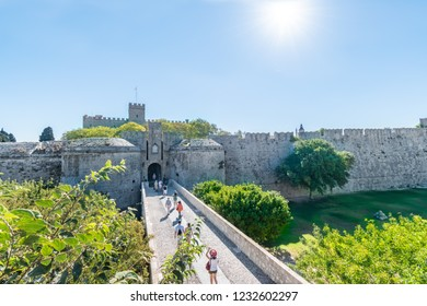 City gate and city walls of medieval city of Rhodes (Rhodes, Greece)
