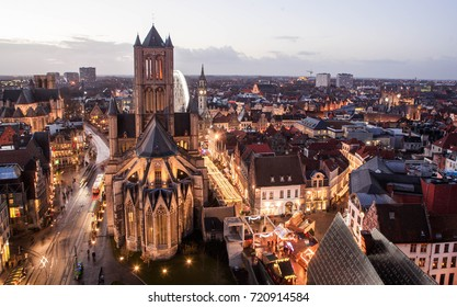 The city of Ghent at sunset.