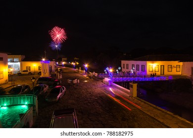 CITY OF GOIAS, BRAZIL - JANUARY 1, 2018: Fireworks over old house in the historic centre of City Of Goias on January, 2018, City Of Goias, Brazil.