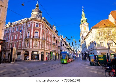 City of Graz Hauptplatz main square advent view, Steiermark region of Austria