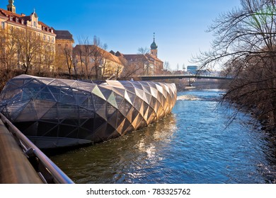 City of Graz Mur river and Murinsel view, Styria region of Austria
