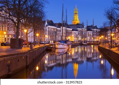 The city of Groningen in the north of The Netherlands, photographed at night.