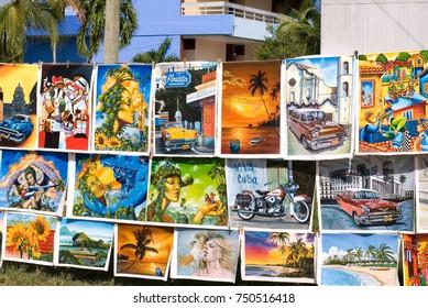 City of Guardalavaca,Cuba-November 27, 2014:Local Paintings for Sale at the Flea Market