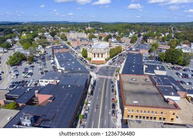 City Hall aerial view in downtown Framingham, Massachusetts, USA.