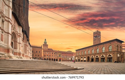 City hall and Basilica in main square of Bologna, Italy