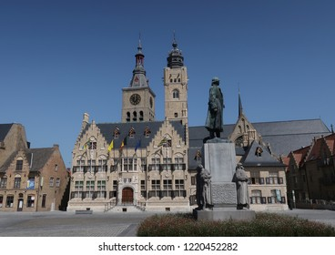 City hall Belfry and Sint-Niklaas church in Diksmuide West Flanders Belgium