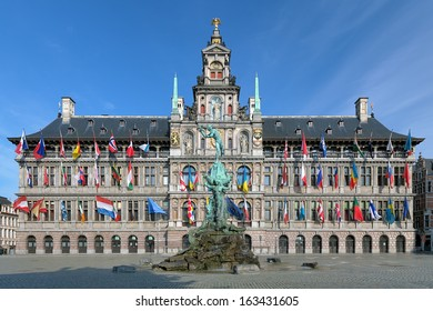 City Hall and Brabo fountain on the Great Market Square of Antwerp, Belgium
