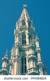 City Hall in Brussels, Belgium. Retro filtered color tone.