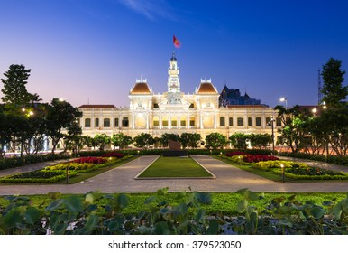 City Hall building at dusk, Ho Chi Minh City, Vietnam.