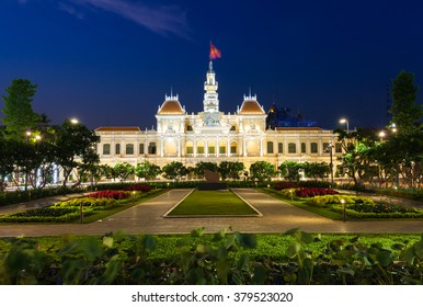 City Hall building at night, Ho Chi Minh City, Vietnam.