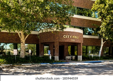 The City Hall building of Santa Clarita, CA is a multiple story brick and concrete structure.
